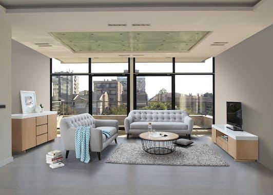 Canapé Capitonné 3 places tapissier tissu gris clair boutons gris foncés 206x83x91cm STRADA