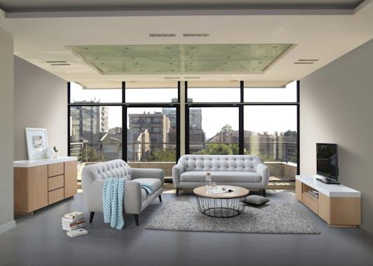 Canapé Capitonné 2 places tapissier tissu gris clair boutons gris foncés 167x83x91cm STRADA