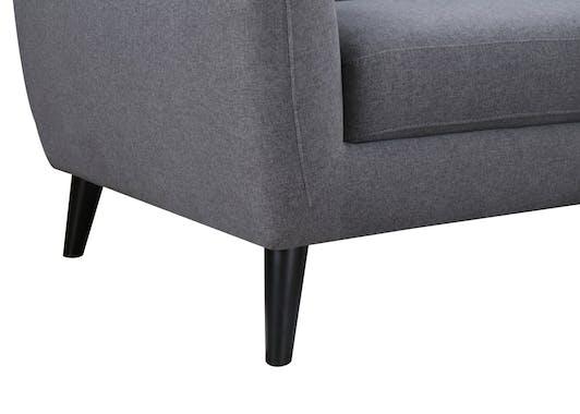 Canapé Capitonné 3 places tapissier tissu et boutons gris foncés 206x83x91cm STRADA