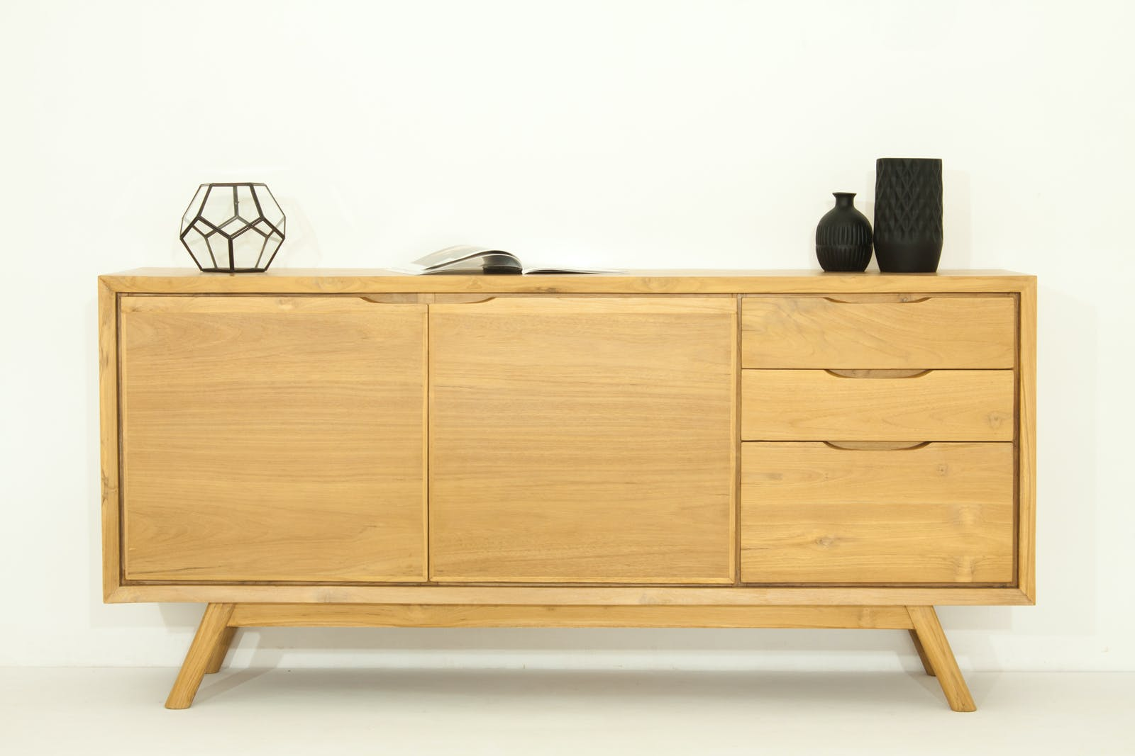 Buffet en Teck naturel, 2 portes et 3 tiroirs 170x45x80cm FIFTEES