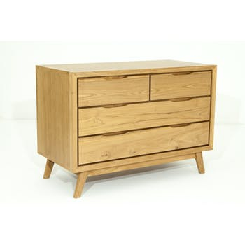 Commode en Teck massif naturel 4 tiroirs 100x48x70cm FIFTEES