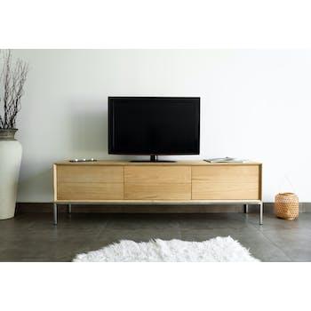 Meuble TV en Chêne massif naturel, 1 porte rabattable et 2 tiroirs 171x41x50cm KUBICO