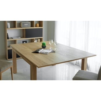 Table de Repas extensible en Chêne massif naturel 140/190x140x76cm NATHAN