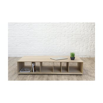 Table basse en Chêne massif naturel, 6 niches 130x70x25cm EPURE