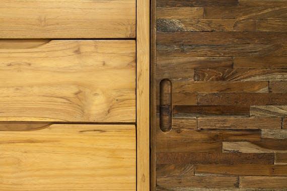 Buffet bois teck recyclé coloré 2 portes coulissantes LOMBOK