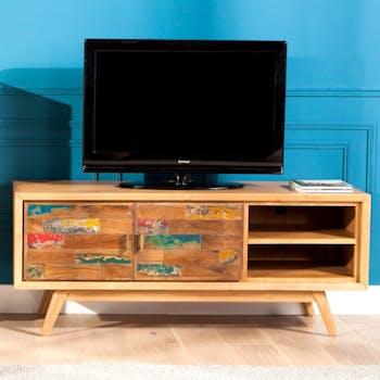 Meuble TV teck recyclé coloré 2 portes LOMBOK