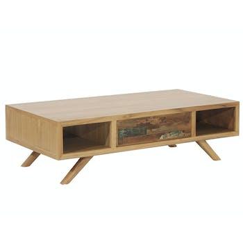 Table basse teck recyclé colorée 1 tiroir LOMBOK