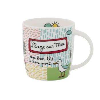 PLAGE - Mug BON PORT porcelaine Multicolore 9X8cm DLP