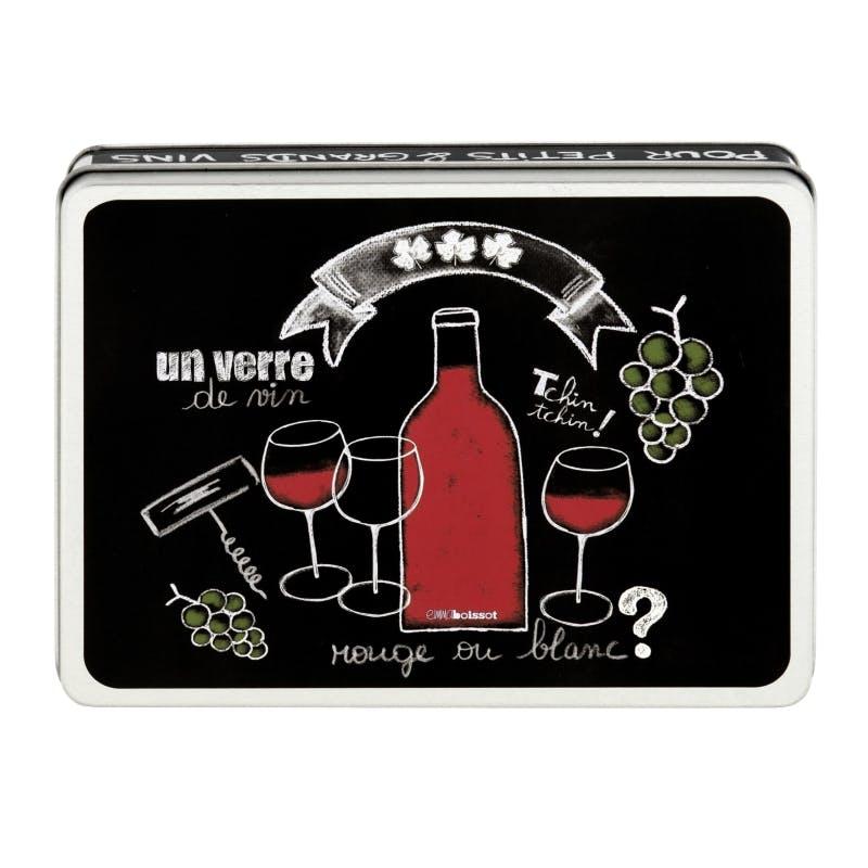 ARDOISE Boite à vin (garnie) Un Verre de Vin noir 15,5x11,5X3cm DLP