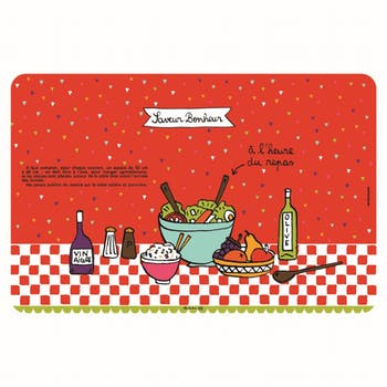 SAVEUR BONHEUR Set de table Saveur Bonheur rouge 43,5x28,5cm DLP