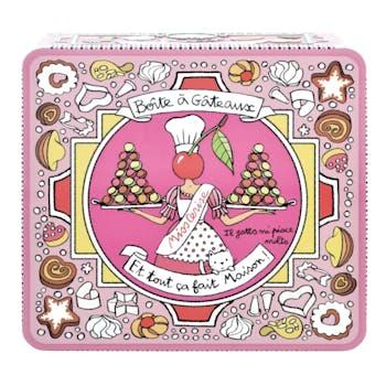EMBOSSEE Boite à Gâteaux Fait Maison rose 23,5x22x9cm DLP