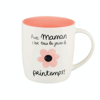 Mug (+ boite) AVEC MAMAN rose D8,5x9cm DLP