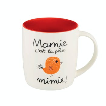 Mug (+ boite) MAMIE rouge D8,5x9cm DLP