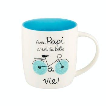 Mug (+ boite) PAPIE bleu D8,5x9cm DLP