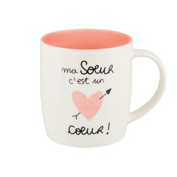 Mug (+ boite) MA S?UR rose D8,5x9cm DLP