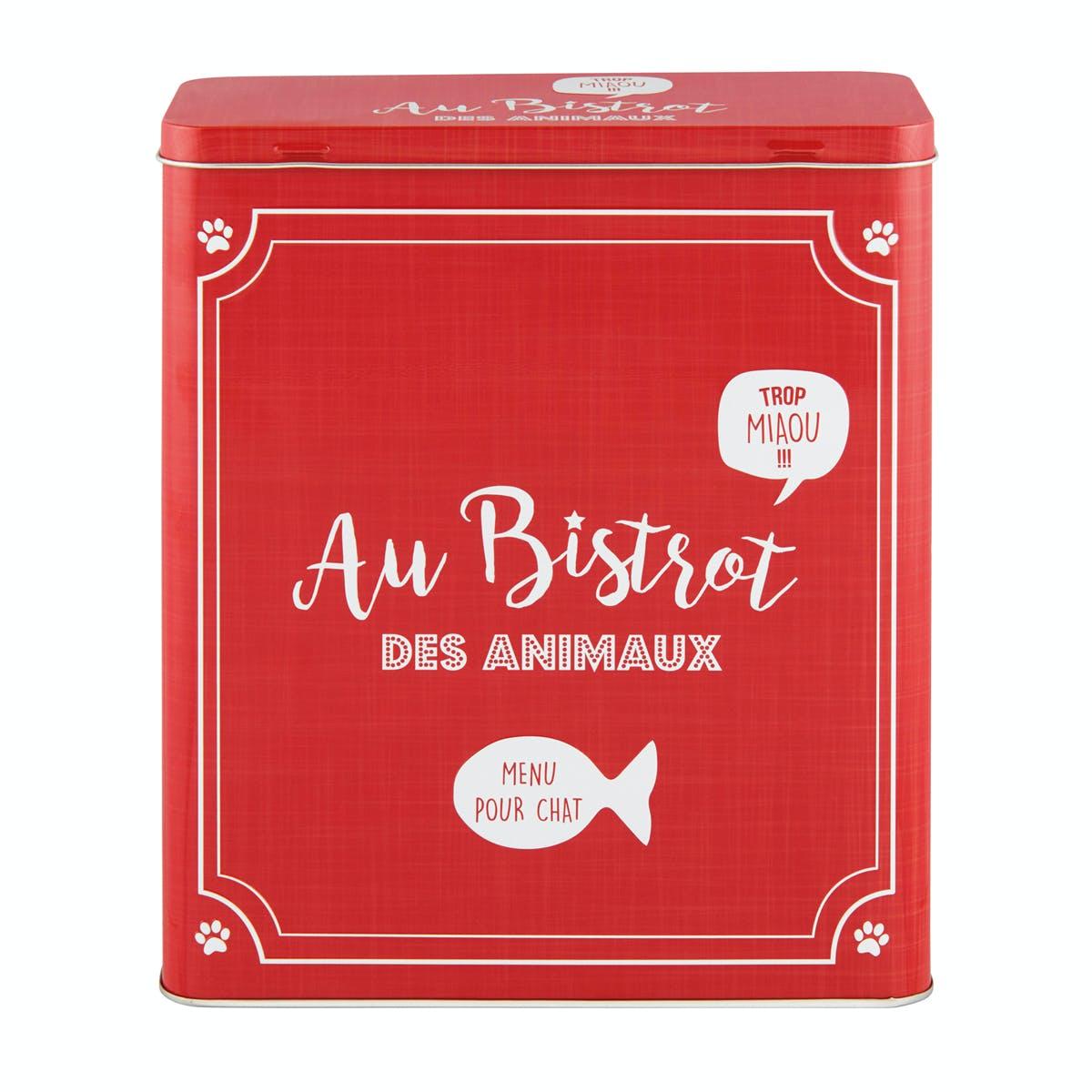 BISTROT DES ANIMAUX  Boîte à Croquettes Chat rouge 23x10x26,5cm DLP
