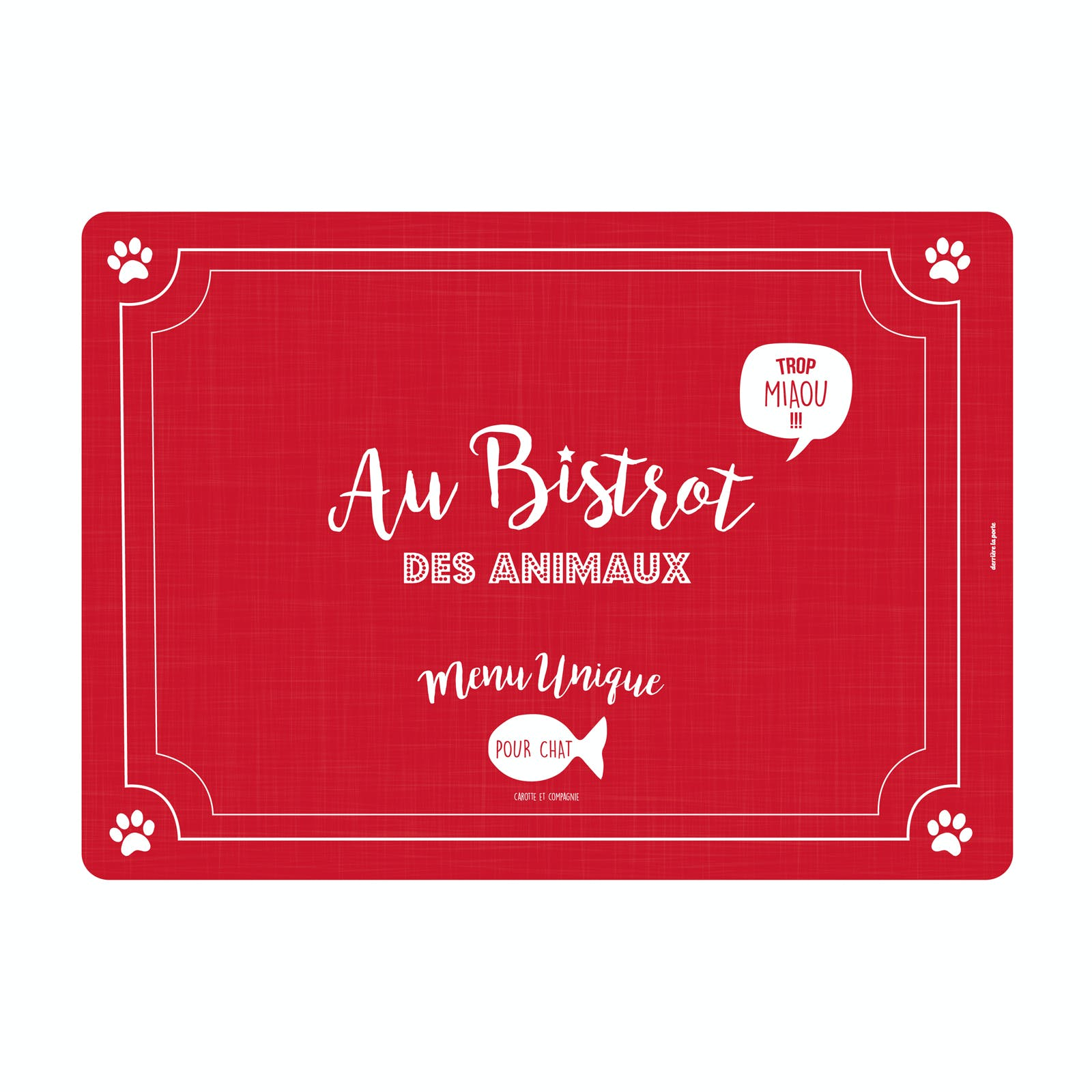 BISTROT DES ANIMAUX  Tapis de Chat rouge 46x33cm DLP