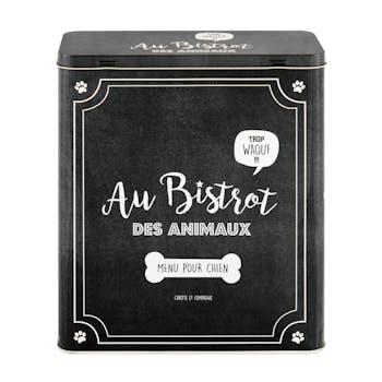 BISTROT DES ANIMAUX  Boîte à Croquettes Chien noir 23x10x26,5cm DLP