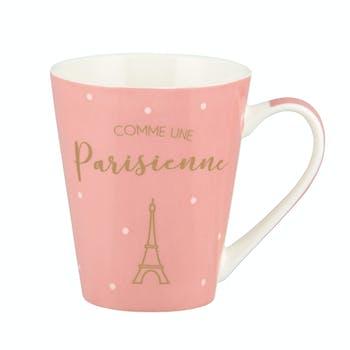 COMME UNE PARISIENNE Mug rose à pois blancs 8,5x10cm