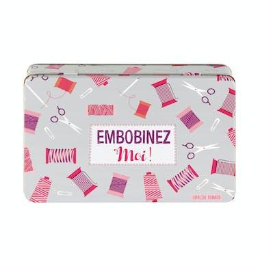 EMBOBINEZ-MOI Boite à couture grise et rouge 22x14x5cm DLP