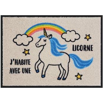 """Tapis de Patio """"J'habite avec une Licorne"""" 70x50cm DLP"""