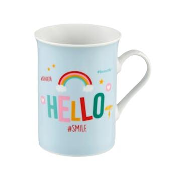 """Coffre Mug """"HELLO"""" + coupelle et pince à thé 19,5x10,5cm DLP"""