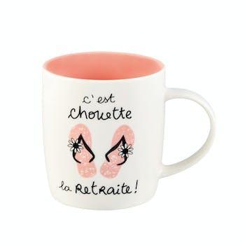 FAMILLE Mug (+ Boite) C'est chouette la Retraite (rose) 8,5x9cm DLP