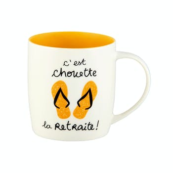 FAMILLE Mug (+ Boite) C'est chouette la Retraite (orange) 8,5x9cm DLP