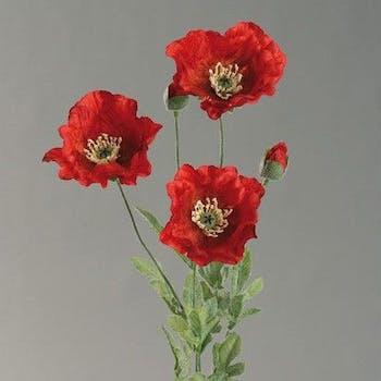 Fleur de pavot rouge 75cm
