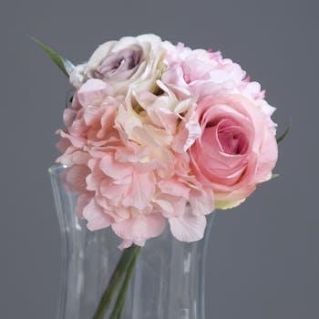 Bouquet Hortensias Rose 24CM