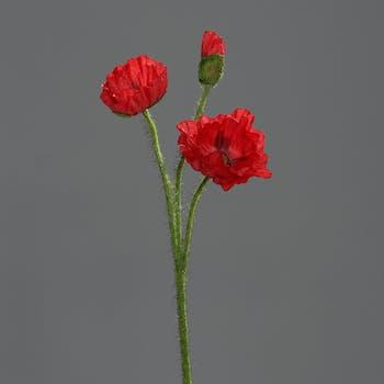 Pavot Rouge 3 fleurs 48CM