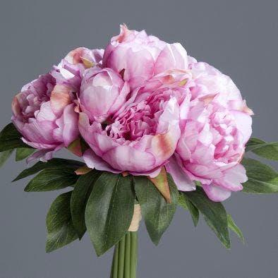 Bouquet de pivoines coloris lavande, 35cm