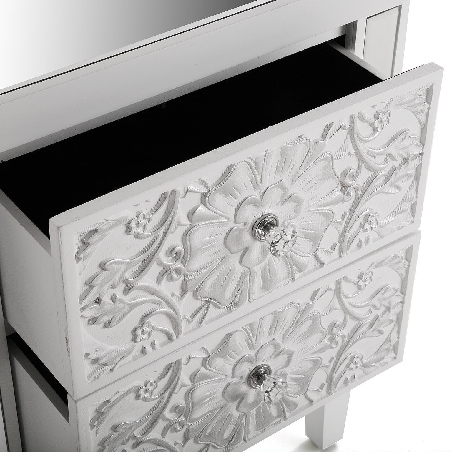 Table de chevet baroque argentée CORFOU