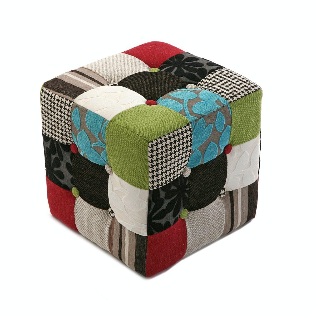 Pouf cube capitonné en tissu Patchwork coloré 35x35x35cm EIDER