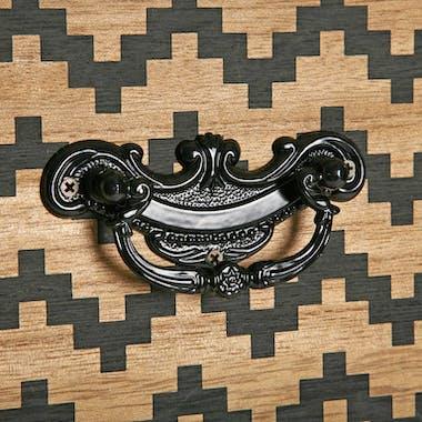 Console en pin 5 tiroirs décorés 90x30x84,5cm GRAFT