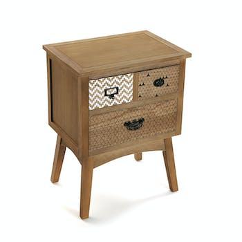 Table de chevet / Bout de canapé en pin 3 tiroirs 49x35x65,5cm GRAFT