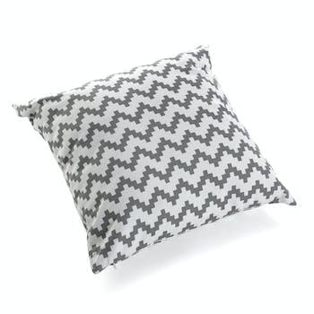 Coussin carré épais en coton blanc gris motif zigzag 45x15x45cm COPPEN