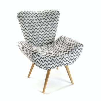 Fauteuil forme design en tissu blanc gris motif zigzag et pieds bois 72x70x83cm COPPEN