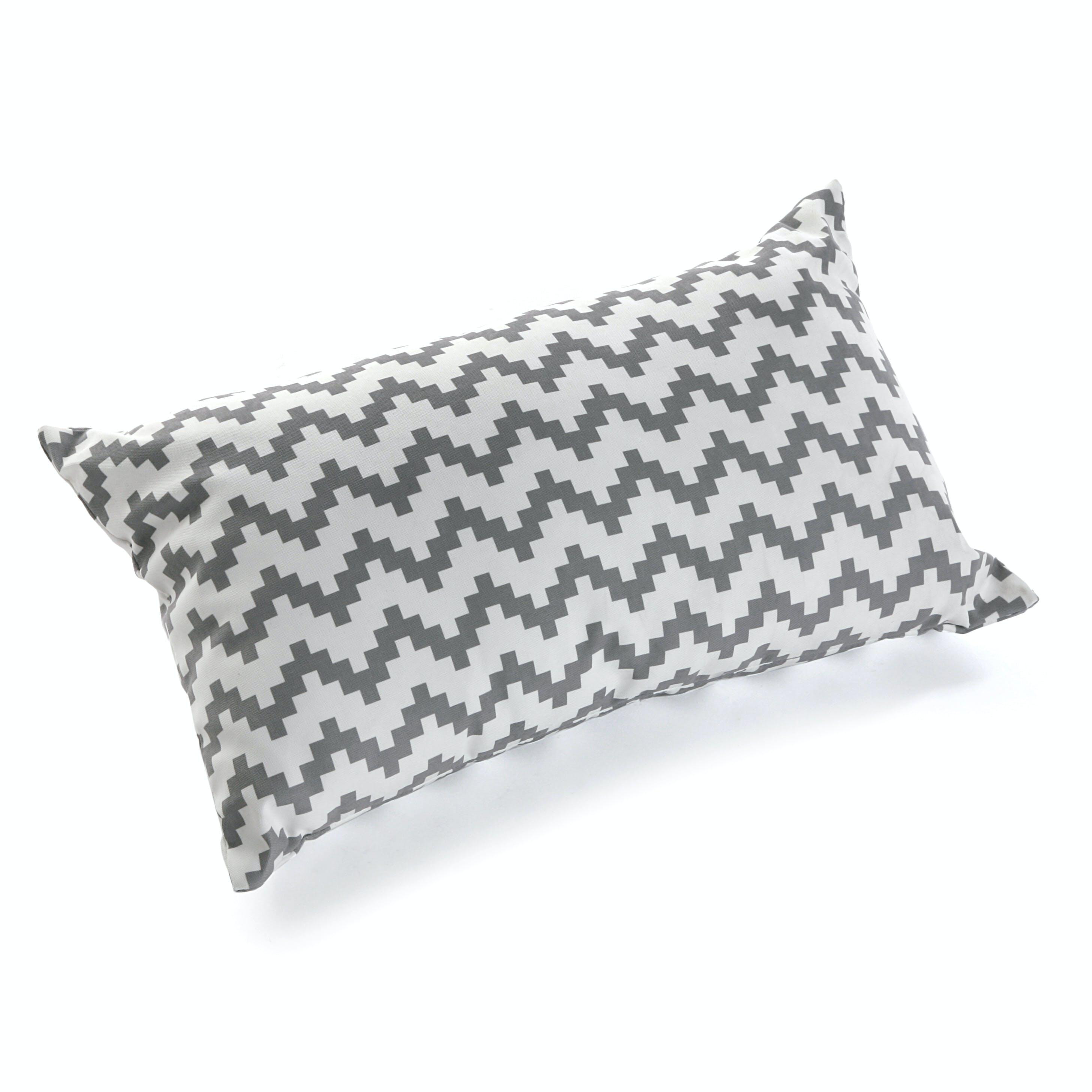 Coussin rectangle épais en coton blanc gris motif zigzag 50x15x30cm COPPEN