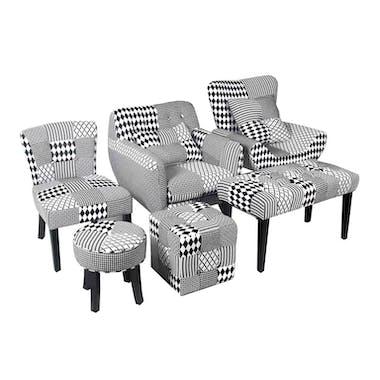 Banc / Bout de lit capitonné en tissu patchwork blanc et noir et pieds bois noirs 80x40x45cm URBAN