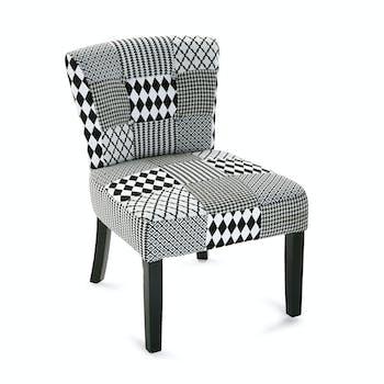 Fauteuil chaise en tissu Patchwork blanc et noir et pieds bois noirs 50x64x73cm URBAN