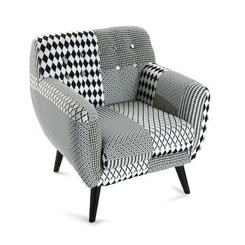 Fauteuil Club en tissu Patchwork blanc et noir et pieds bois noirs 68x63x76cm URBAN