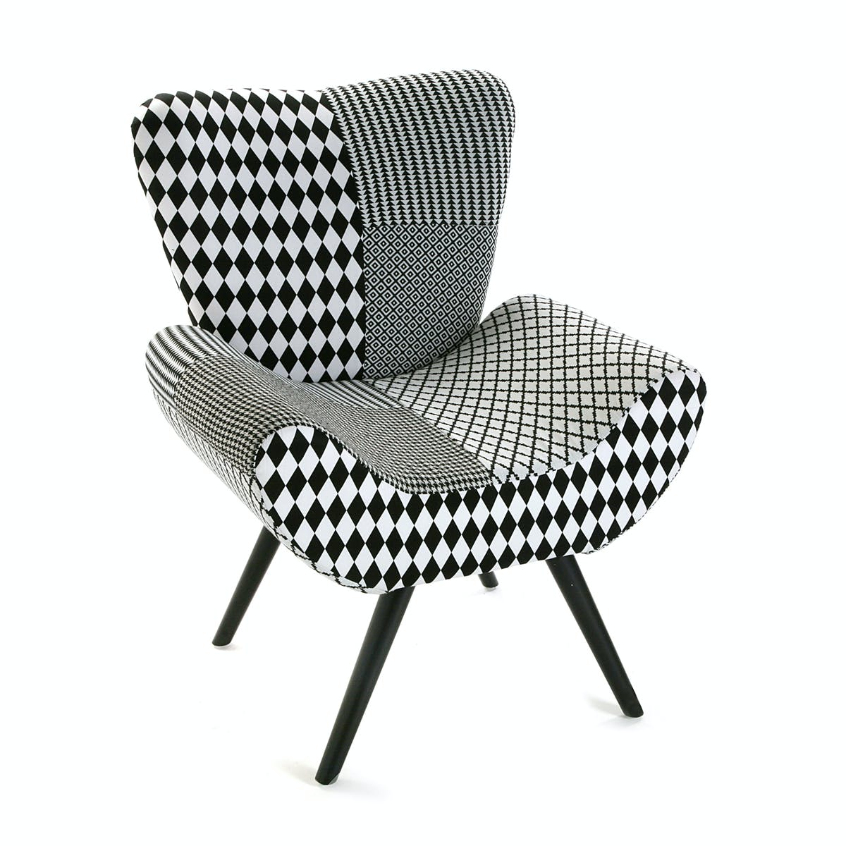 Fauteuil forme design en tissu Patchwork blanc et noir et pieds bois noirs 72x70x83cm URBAN