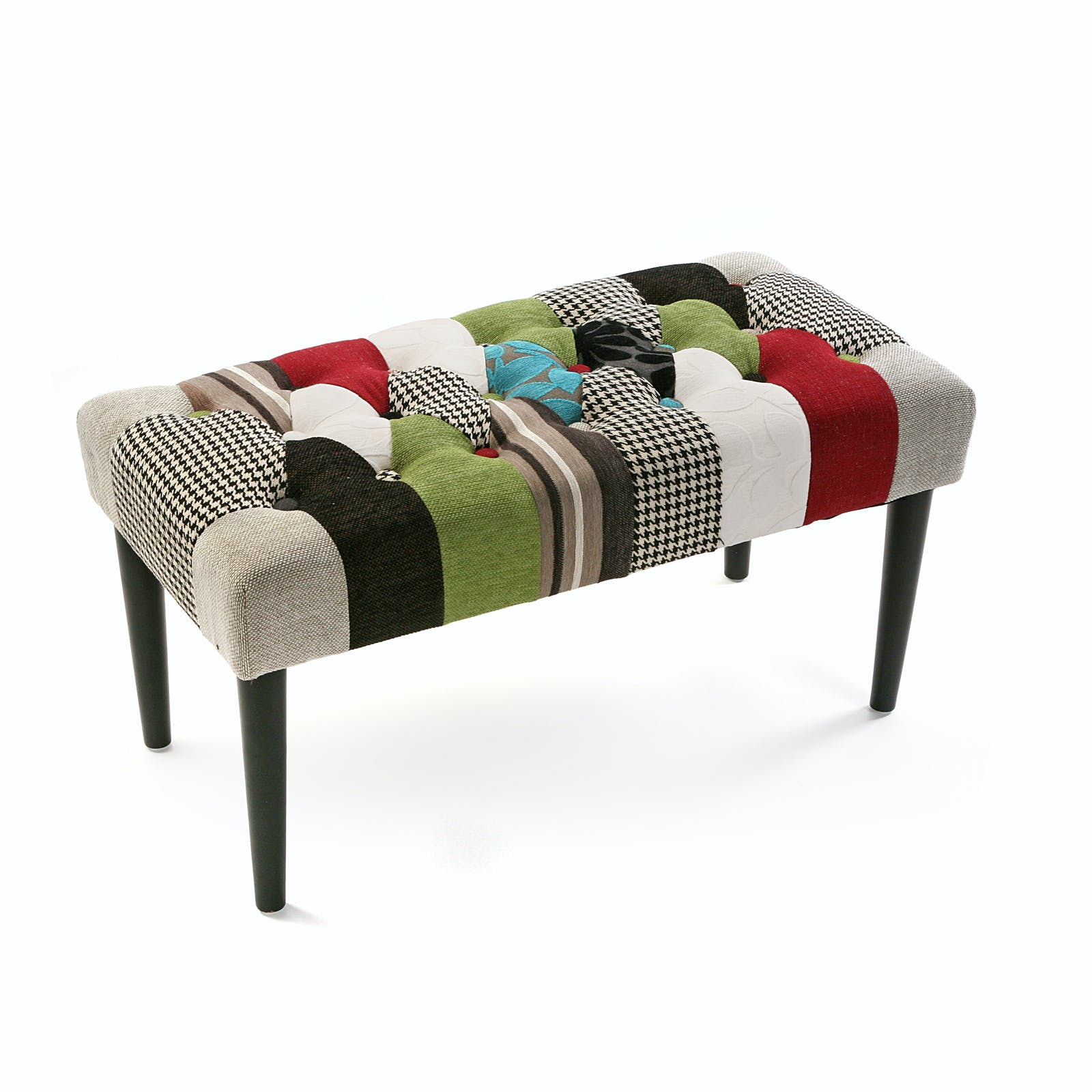 Banc / Bout de lit capitonné en tissu patchwork coloré et pieds bois noirs 80x40x45cm EIDER