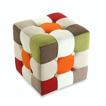 Pouf cube capitonné en tissu Patchwork coloré 35x35x35cm GREEN
