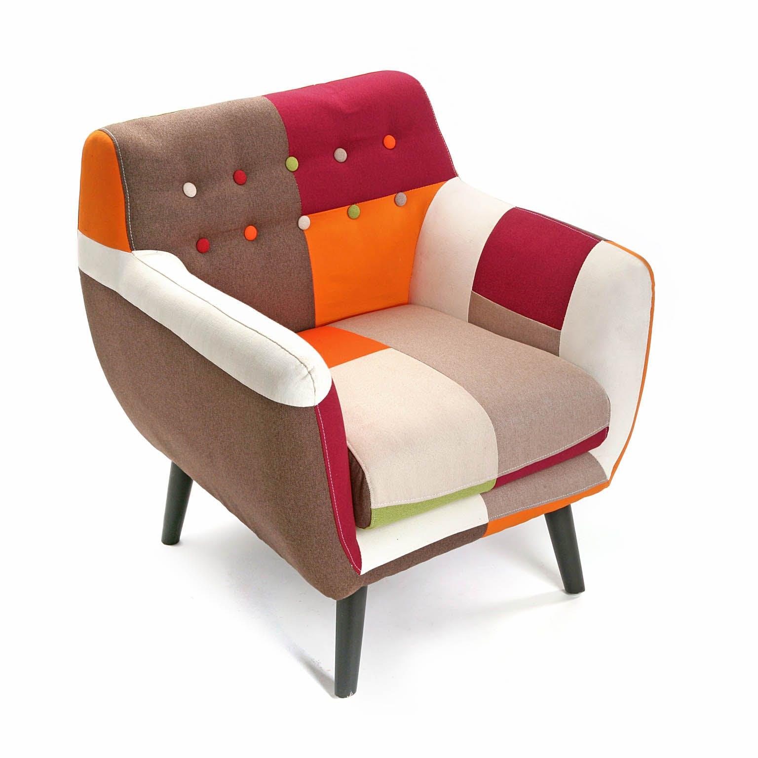 Fauteuil Club en tissu Patchwork coloré et pieds bois 68x63x76cm GREEN