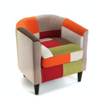 Fauteuil Cabriolet en tissu Patchwork coloré et pieds bois 64x62x56cm GREEN