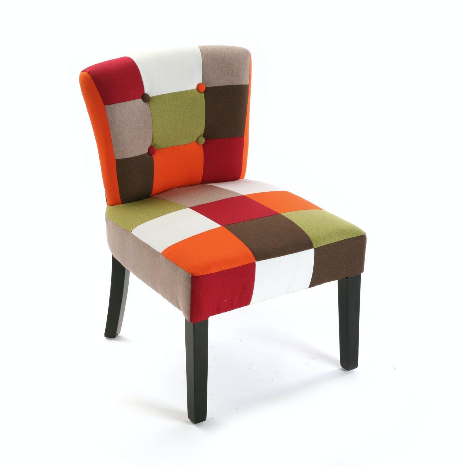 Fauteuil Chaise en tissu Patchwork coloré et pieds bois 64x62x56cm GREEN