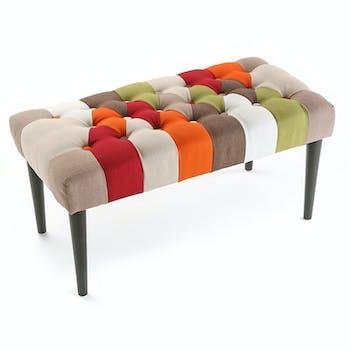 Banc / Bout de lit capitonné en tissu Patchwork coloré et pieds bois 80x40x43cm GREEN