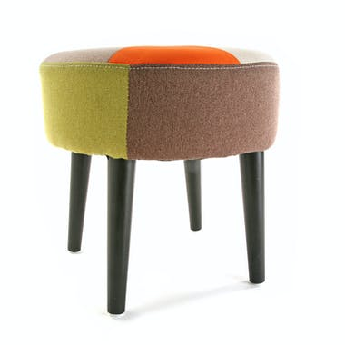 Tabouret pouf rond en tissu Patchwork coloré et pieds bois D35xH35cm GREEN